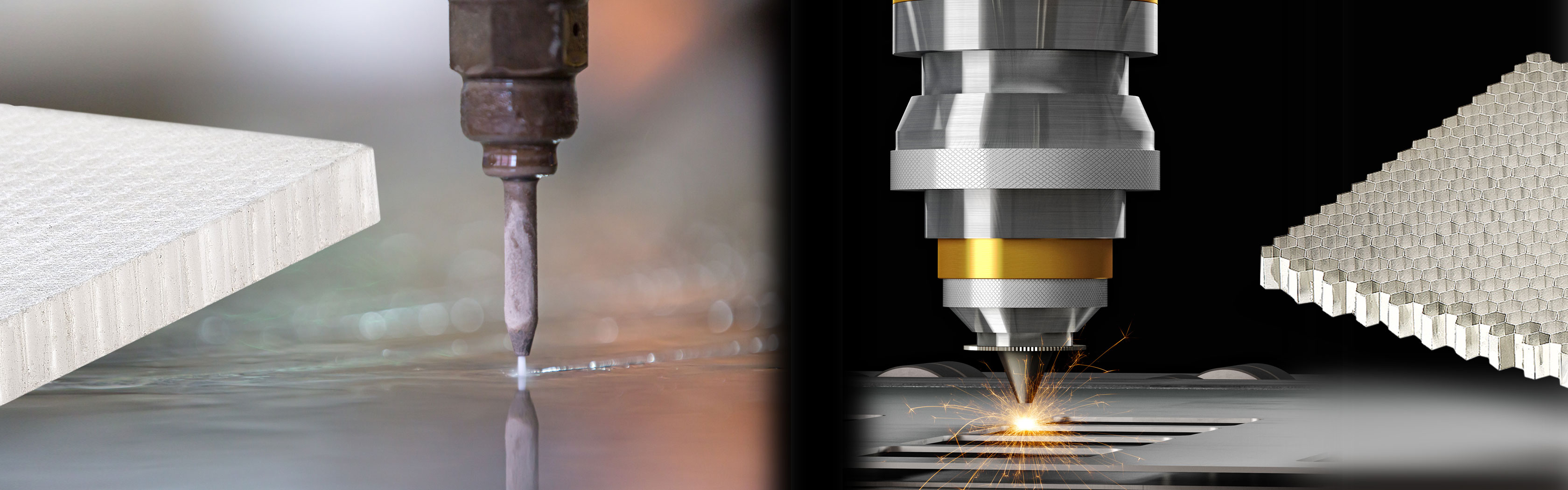Water and Laster jet cutting are machines capable of slicing different materials using either a jet of water at high speed and pressure or a laser ray.